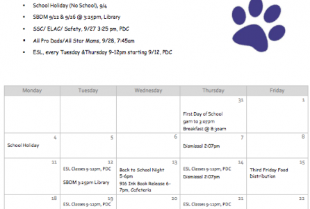 September Parent Calendar - English