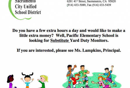 Hiring Yard Duty Substitutes.  Please see Ms. Lampkins