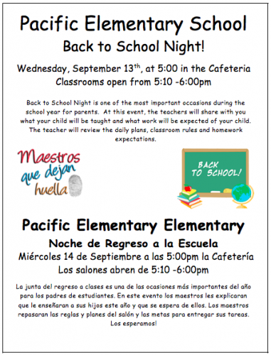 Back to School Night on Wednesday, September 13th @5pm